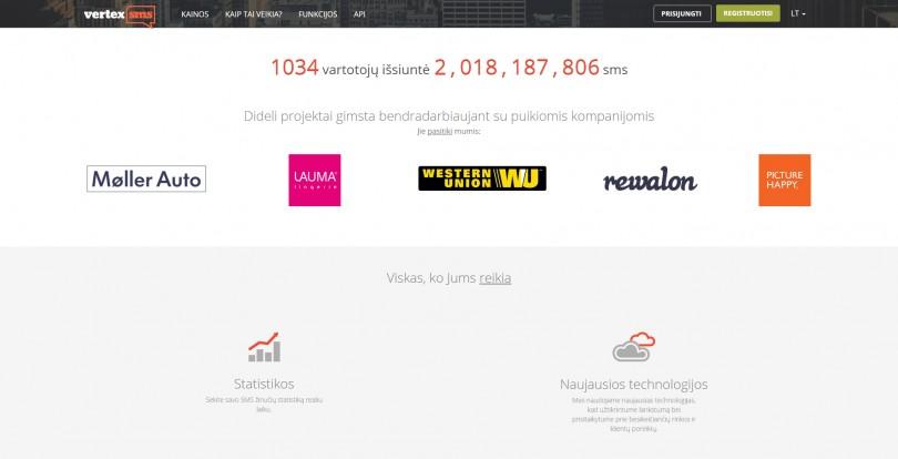 SMS rinkodaros platformos vaizdas ekrane