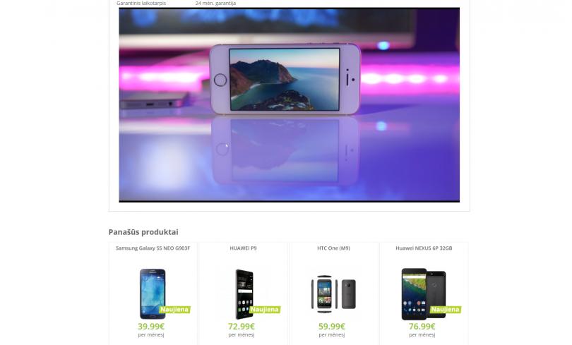 Elektroninės parduotuvės ekrano vaizdas
