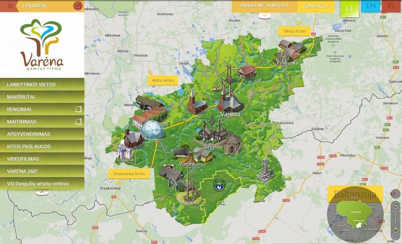 Internetinis puslapis su interaktyviu žemėlapiu