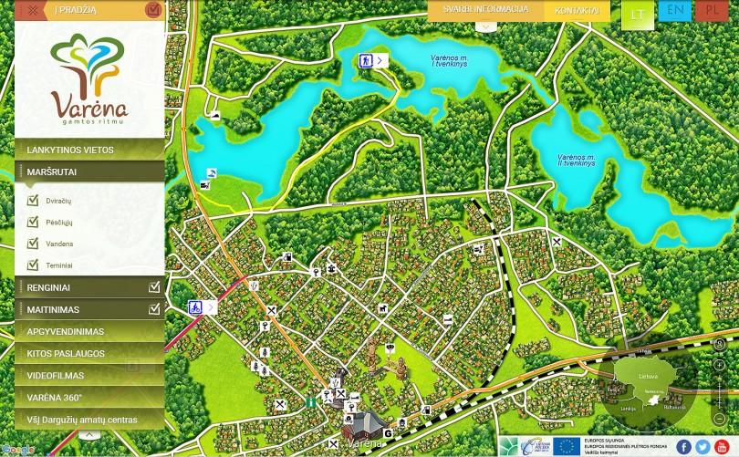 Skaitmeninio Varėnos žemėlapio vaizdas kompiuterio ekrane