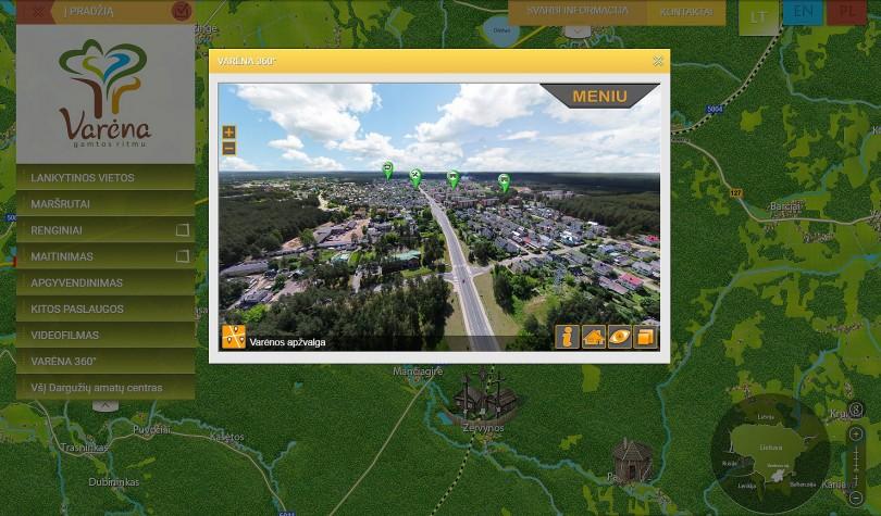 Ekrano kuriame pavaizduotas Varėnos žemėlapis kopija