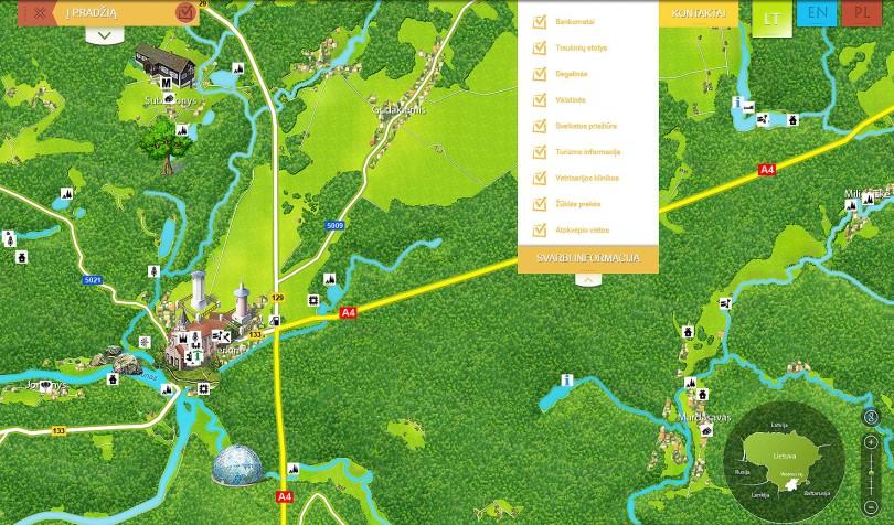 Interaktyvaus Varėnos žemėlapio fragmentas