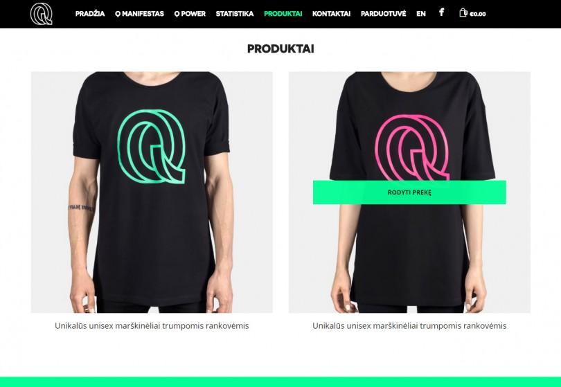 Klientams kurtos vieno puslapio elektroninės parduotuvės dizaino fragmentas