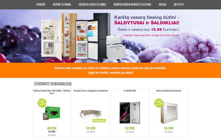 Internetines parduotuves tinklapio dizainas